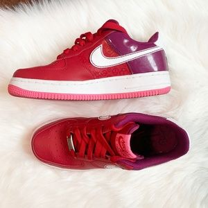 Nike Red Berry Air Force 1 Low Youth Sneakers